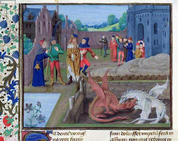Ms.6, f.43v The Battle of the Red and White Dragons with the King and Merlin Looking on, illustration from St Alban's Chronicle (vellum)