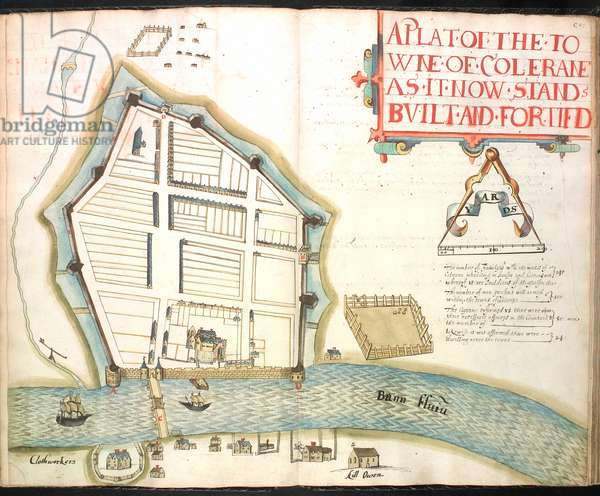 MS 634 ff.49v-50 Town Plan of Colerain, from 'A Survey of the Estate of the Plantation of the County of Londonderry Taken in 1624 by Sir Thomas Phillips' (vellum)