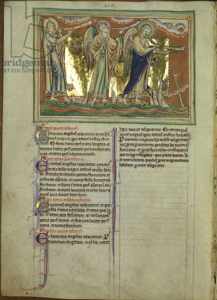 Ms 209 f.9v Angels blowing trumpets, from the Lambeth Apocalyse, c.1260 (vellum)