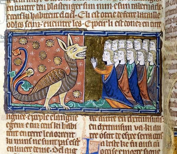 Ms 75 f.27v People worship the dragon (vellum)