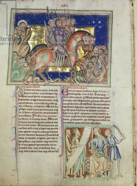 Ms 209 fol.11v An army of horsemen trample the dead, a prince receives a scroll in the lower right hand column, from the Lambeth Apocalypse, c.1260 (vellum)