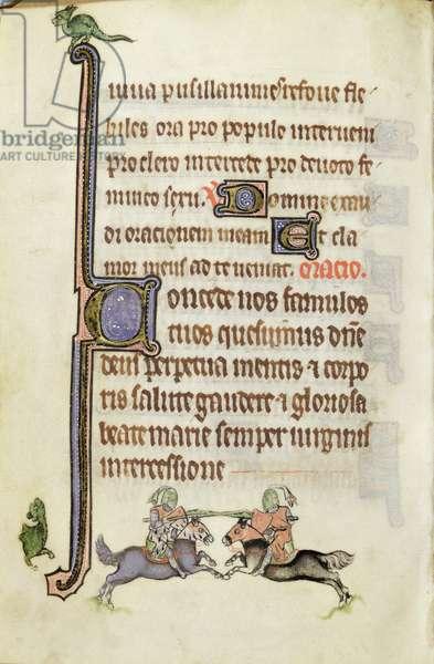 MS. 3599, fol.64v Knights jousting (vellum)