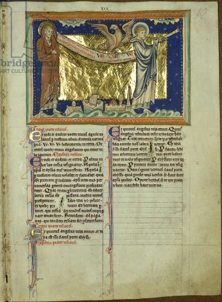 Ms 209 f.10 Angel blows a trumpet and an eagle cries `Woe', from the Lambeth Apocalypse, c.1260 (vellum)