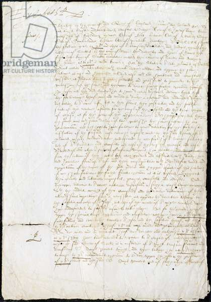MS 4769 f.1 Execution warrant for Mary Queen of Scots, 1587 (ink on paper)