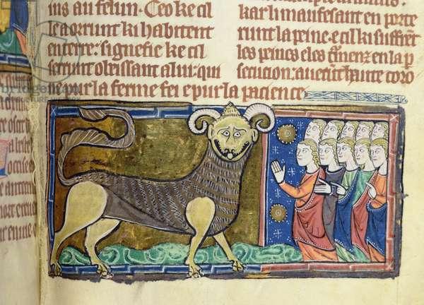 Ms 75 f.28 People worship the horned beast (vellum)