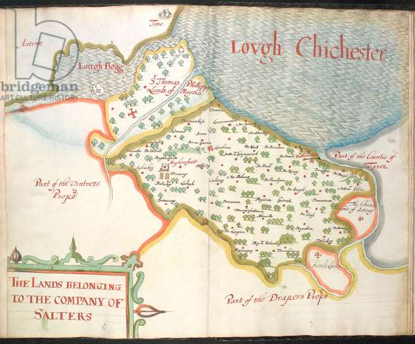 Ms 634 f.76v-77 A plat of the Salters landes, from 'A Survey of the Estate of the Plantation of Londonderry Taken in 1624 by Thomas Phillips' (ink on vellum)