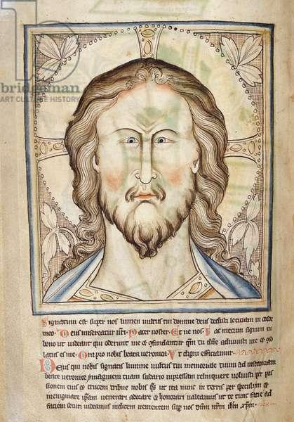 MS. 209, fol.53v 'Veronica' Head of Christ, from the 'Lambeth Apocalypse' (vellum)
