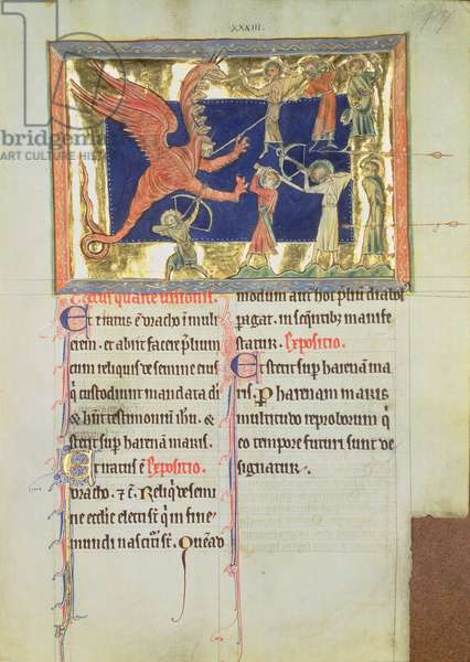 Ms 209 fol.7 Fight with the seven-headed dragon, from the Lambeth Apocalypse, c.1260 (vellum)
