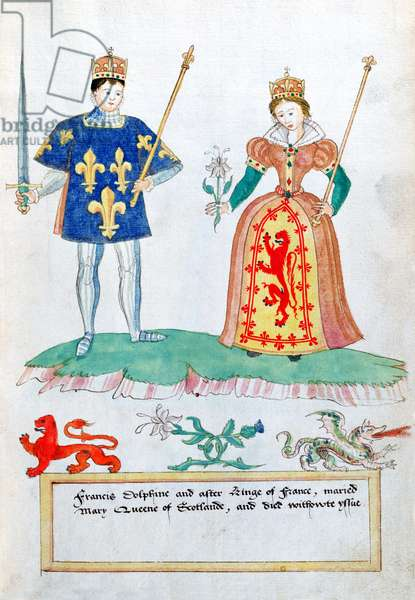MS. 316, fol.17 Francis II (1544-60) and Mary of France (1542-87) Mary Queen of Scots (w/c on paper)