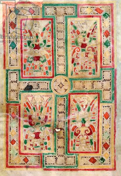 Ms 1370 f.1v Cruciform page, frontispiece to the Gospel of St. Matthew, from the MacDurnan Gospels, Armagh (vellum)