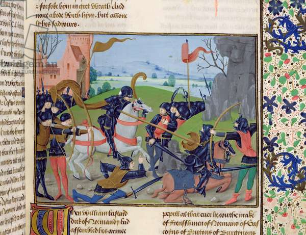 Ms 6 f.109 Battle of Hastings, 1066, from 'St. Alban's Chronicle' (vellum)