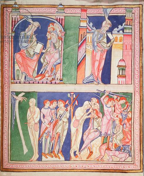 Ms 3 f.258 Ezekiel and his vision; separation of righteous from unrighteous, from the Lambeth Bible, Canterbury, c.1140-50 (vellum)