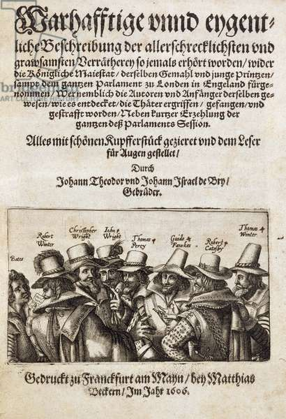 Guy Fawkes and associates, from 'Verratheren in England', 1606 (engraving)