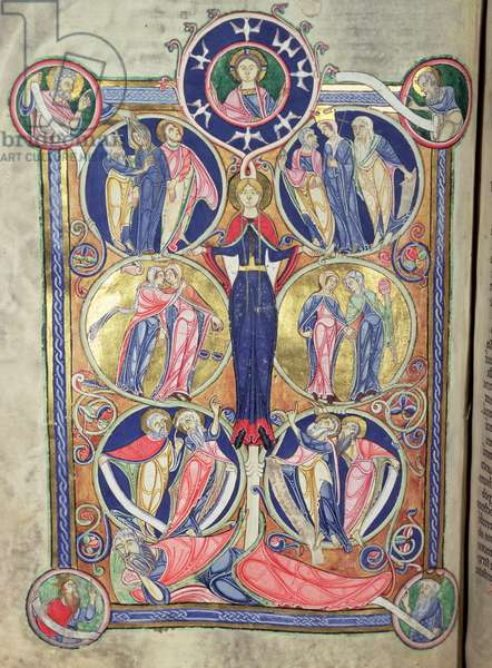 Ms 3 f.198 Isaiah: Tree of Jesse, from the Lambeth Bible, Canterbury, c.1140-50 (vellum)