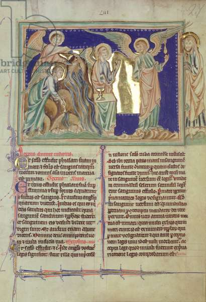 Ms 209 fol.27 St. John watches the angels turn the sea into blood, from the Lambeth Apocalypse, c.1260 (vellum)