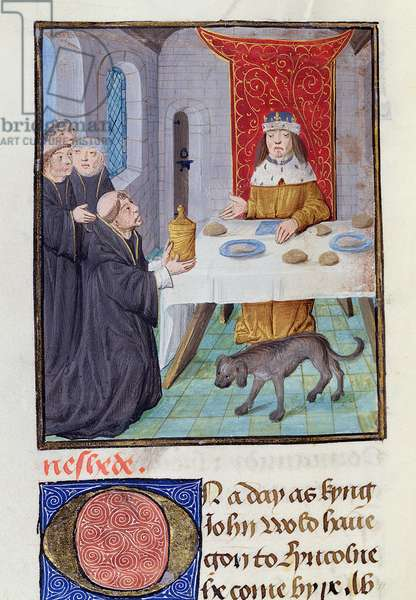 MS. 6, fol. 160v King John poisoned, from the St Alban's Chronicle (vellum)