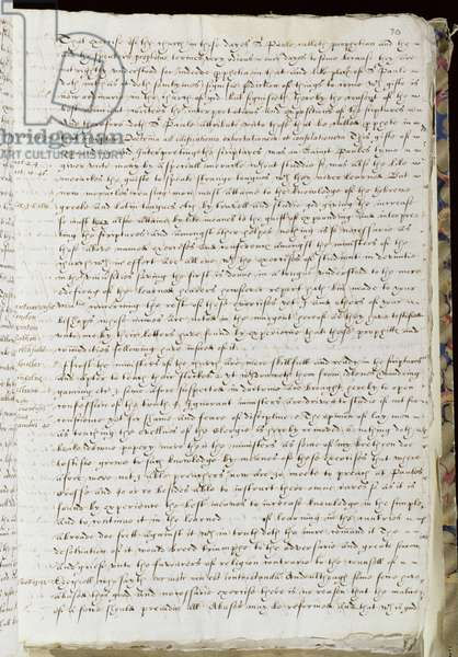 MS 2014, f.70 Letter from the Archbishop justifying his disagreement with her policy to the Queen, 20th December 1576 (ink on paper)