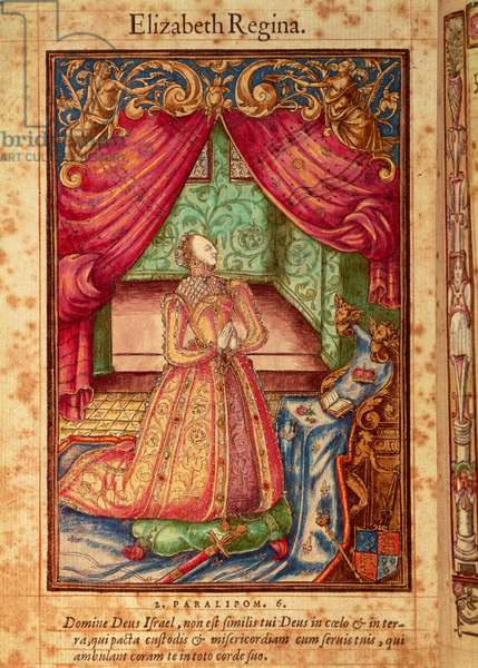 Frontispiece showing Queen Elizabeth at prayer, from 'Queen Elizabeth's Prayerbook', 1569