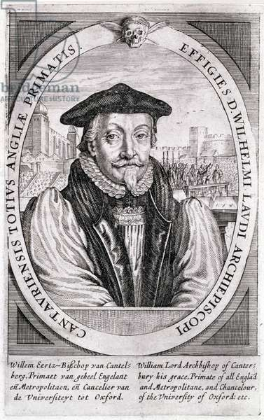Prints XXIV/12 William Laud (1573-1645) Chancellor of Oxford University (1630) and Archbishop of Canterbury (1633) with the scene of his execution in the background (engraving)
