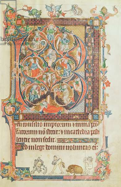 Ms 233 f.15 Historiated Initial `B' (beatus vir) depicting the Tree of Jesse, with grotesques at the base, from the Vaux Psalter (vellum)