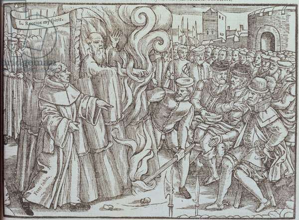 The Burning of Thomas Cranmer (1489-1556) Archbishop of Canterbury, illustration from 'Foxe's Book of Martyrs', pub. 1563 (woodcut)