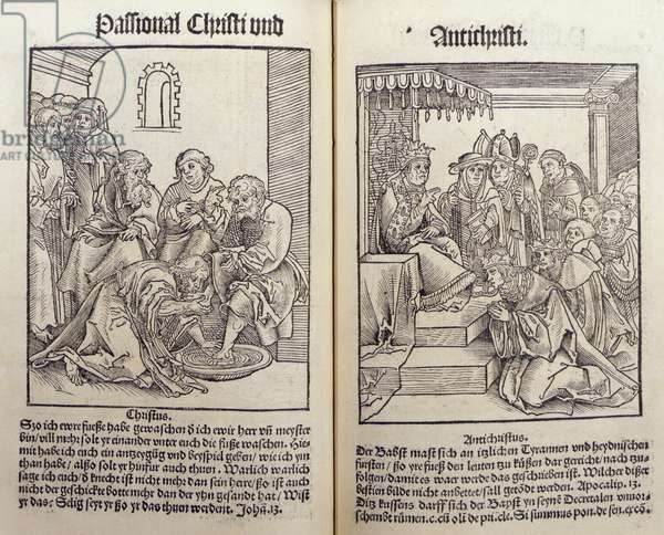 Philip Melancthon, Passional Christi and Antichristi, Wittenberg, 1521 (woodcut)