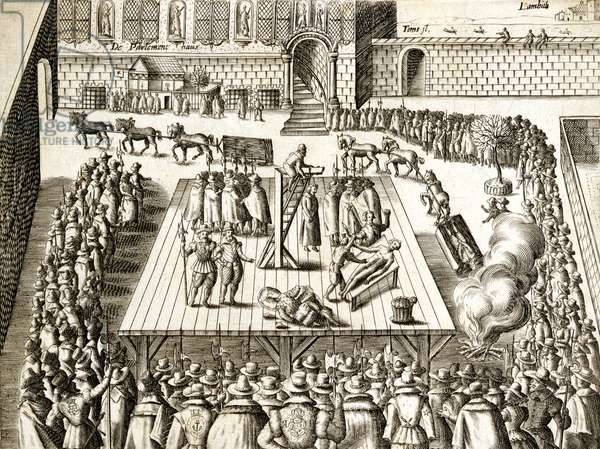 Execution of Guy Fawkes and associates, from 'Verratheren in England', 1606 (engraving)