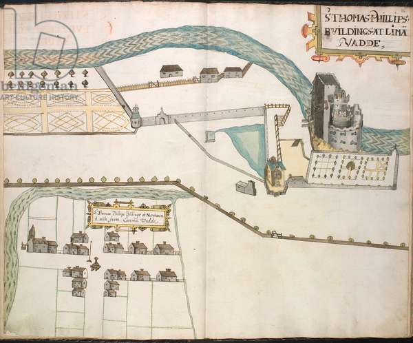 Ms 634 f.34v-35 A platt of Sir Thomas Phillips buildinges, from 'A Survey of the Estate of the Plantation of Londonderry Taken in 1624 by Thomas Phillips' (ink on vellum)