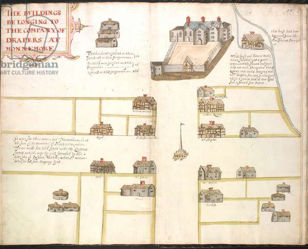 Ms 634 f.85v-86 A plat of the Drapers buildinges, from 'A Survey of the Estate of the Plantation of Londonderry Taken in 1624 by Thomas Phillips' (ink on vellum)
