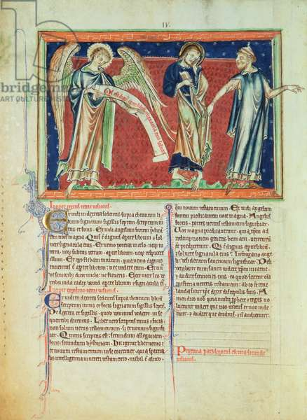 Ms 209 f.2v The angel proclaims `Who is Worthy'; St. John consoled by one of the ancients, from the Lambeth Apocalypse, c.1260 (vellum)