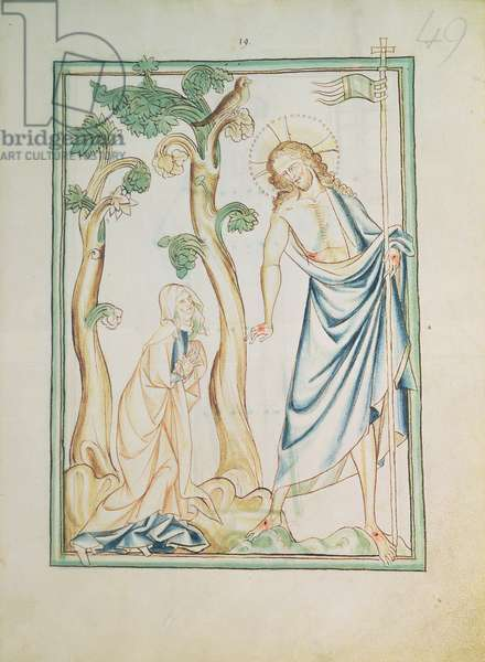 Ms 209 f.49 Noli me tangere: Christ stands before Mary in the garden, from the Lambeth Apocalypse, c.1260 (vellum)