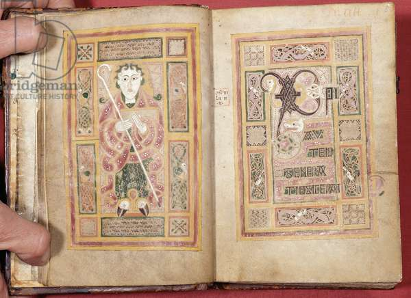 Ms 1370 ff.4-5 Double page, f.4 depicting St. Matthew with crozier and book, from the MacDurnan Gospels, Armagh (vellum)