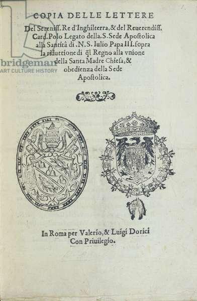 Title Page for 'Copia delle lettere del sereniss' (litho)