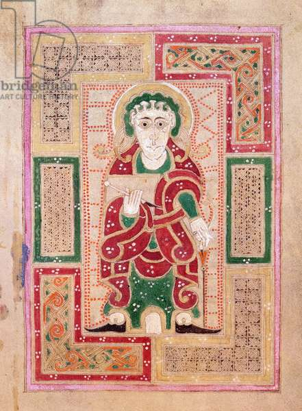 Ms 1370 f.170v The figure of St. John the Evangelist holding a book, page proceeding the Gospel of St. John, from the MacDurnan Gospels, Armagh (vellum)