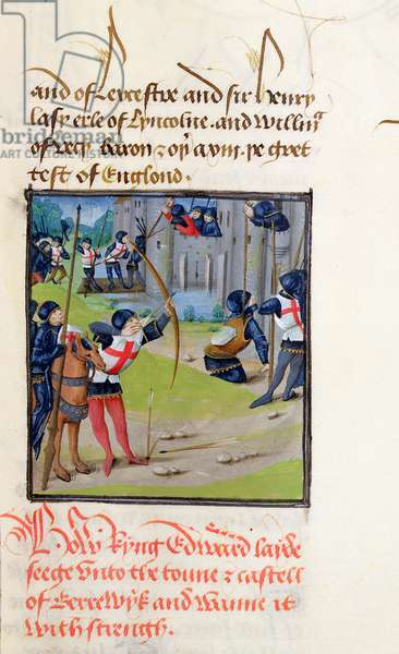 Ms 6 f.174 The Siege of Berwick by Edward I, 1297, from 'St. Alban's Chronicle' (vellum)