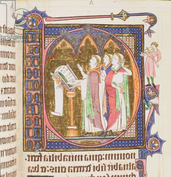 Ms 233 f.145v Historiated Initial `C' (Cantate Domino) with three clerics singing and a musician playing the viol, from the Vaux Psalter (vellum)