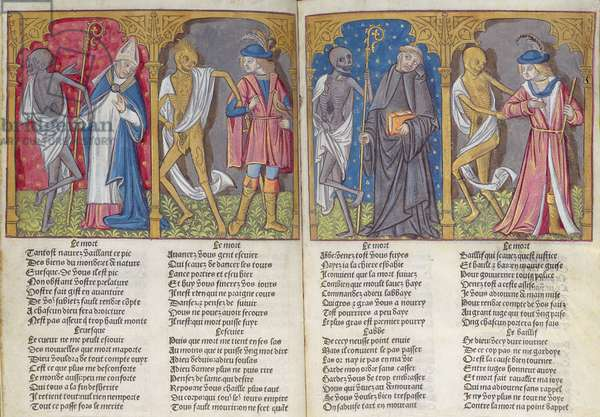 MS.279 ff.3v-4 Death takes the bishop, the hawker, the abbot and the bailiff, from 'La Danse Macabre', 1492 (vellum)