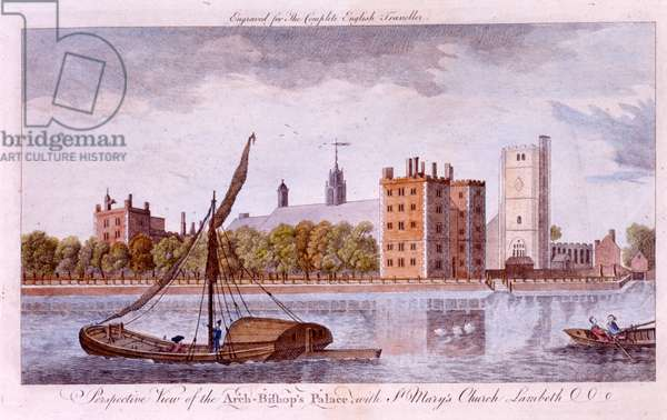 Lambeth Palace and St. Mary's Church from the Thames, c.1760 (engraving)