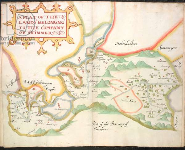 Ms 634 f.88v-89 A plat of the Skinners landes, from 'A Survey of the Estate of the Plantation of Londonderry Taken in 1624 by Thomas Phillips' (ink on vellum)