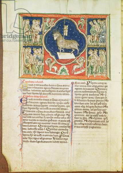 Ms 209 f.3v The vision of the lamb in heaven, from the Lambeth Apocalypse, c.1260 (vellum)