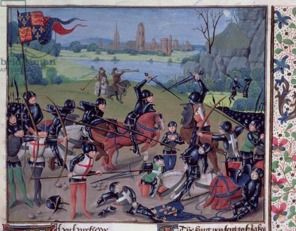 Ms 6 f.243 Battle of Agincourt, 1415, English with Flemish illuminations, from the 'St. Alban's Chronicle' (vellum)