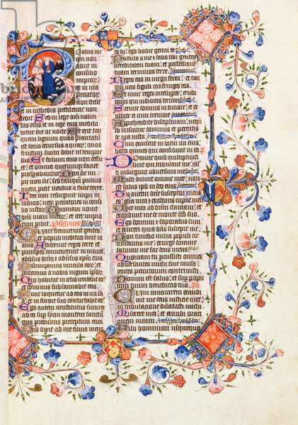 Ms 69 f.209 Beatus Vir page of text with historiated initial 'B' depicting St. Jerome (c.341-420)