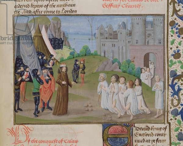 Ms 6 f.218 The Burghers of Calais submitting to Edward III, 1347, from 'St. Alban's Chronicle' (vellum)