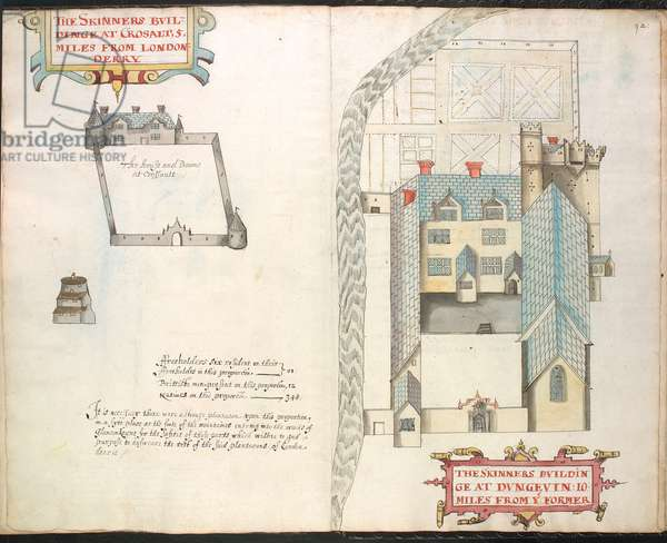 Ms 634 f.91v-92 A plat of the Skinners buildinges, from 'A Survey of the Estate of the Plantation of Londonderry Taken in 1624 by Thomas Phillips' (ink on vellum)