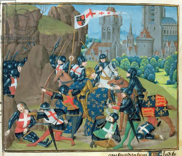 Ms 6 f.221v Battle of Poitiers - the King of France surrenders to the Black Prince, 1356, from 'St. Alban's Chronicle' (vellum)