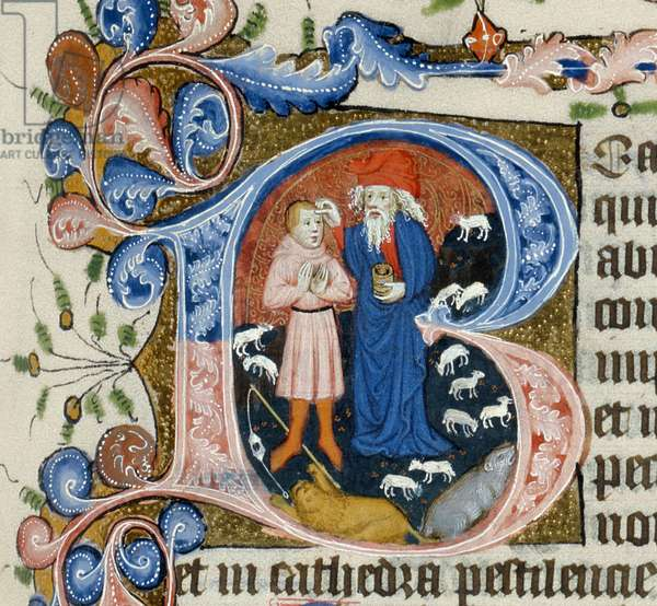 Illuminated initial 'B' showing David annointed by Samuel (vellum)