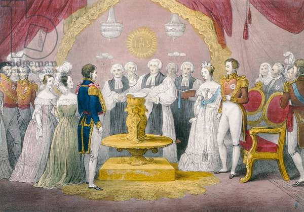 The Christening of the Princess Royal, 1841 (hand-coloured litho)