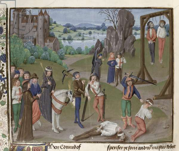 MS. 6,fol.197v Execution of the Despencers, from the St Alban's Chronicle (vellum)