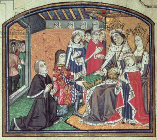 Ms 265 f.VI v Edward IV, with Elizabeth Woodville, Edward V and Richard, Duke of Gloucester, later Richard III, from the 'Dictes of Philosophers,' c.1477 (vellum)