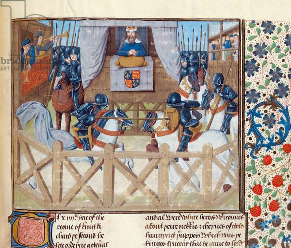 Ms 6 f.233 Tournament of Knights before Richard II, from the 'St. Alban's Chronicle' (vellum)